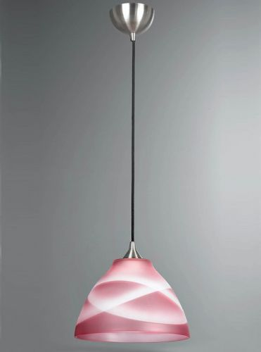 Franklite FL2290/1/905 Satin Nickel & Graduated Deep Rose Glass Pendant Light